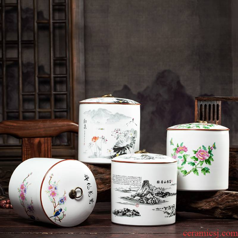 Jingdezhen ceramics storage tank furnishing articles tea cake pu 'er tea pot of new Chinese style household decorations arts and crafts