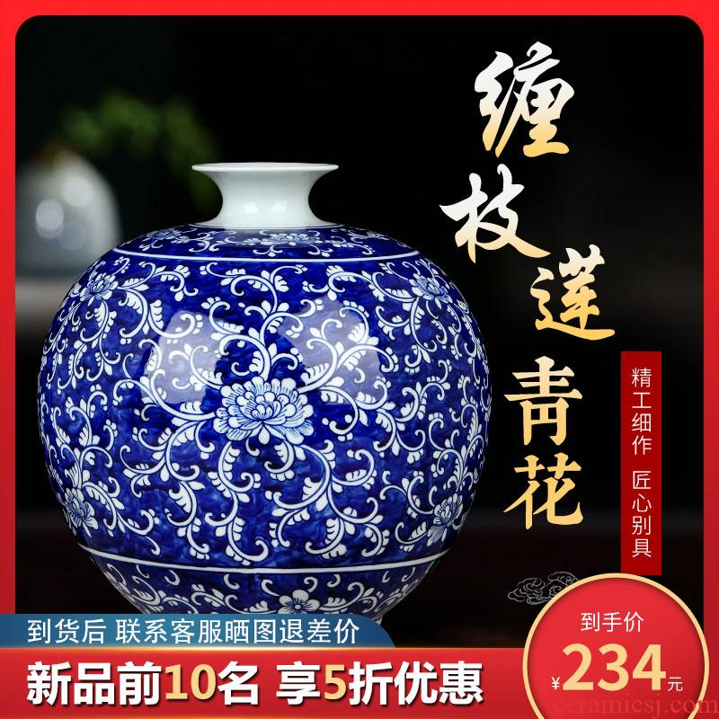 Chinese antique blue and white porcelain of jingdezhen ceramics vase sitting room household flower arranging study porch decoration furnishing articles