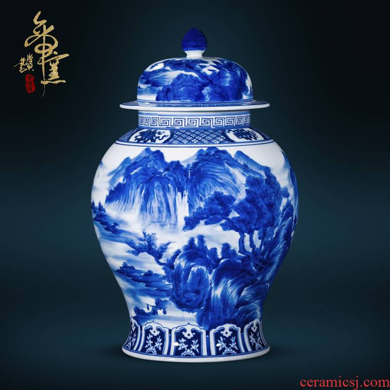 Antique hand - made of hand - made vases, jingdezhen ceramics general landscape of blue and white porcelain tea cover pot decorative furnishing articles