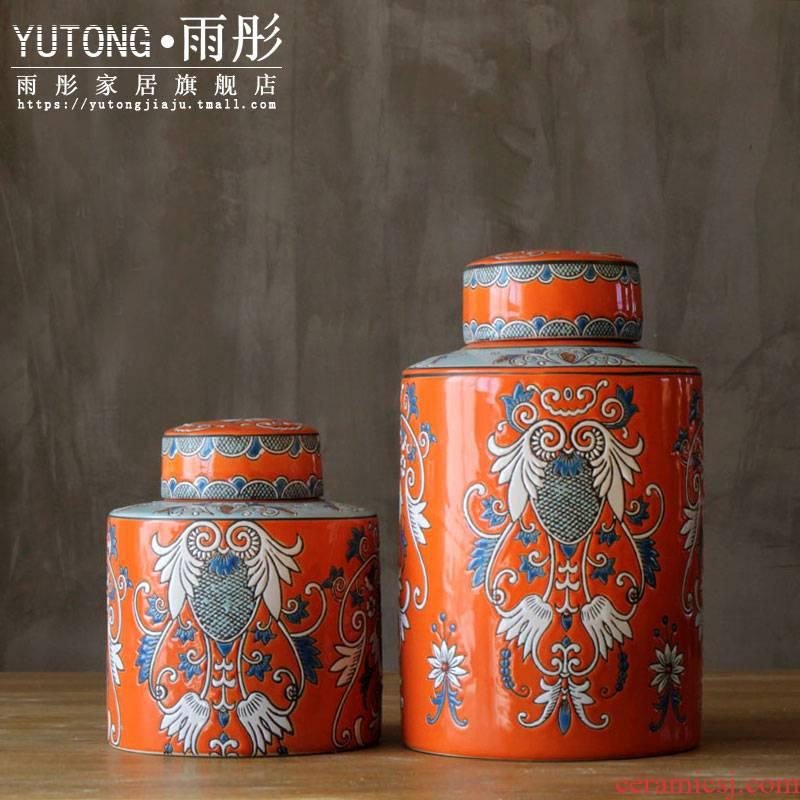 Rain tong home | jingdezhen ceramics powder enamel light drum decorative furnishing articles European - style home sitting room decoration porcelain