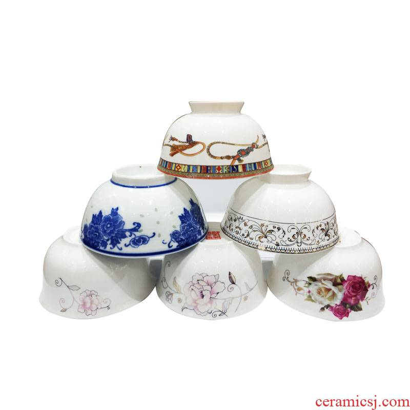 Jingdezhen huayu blue - and - white ceramics and exquisite single bowl of 10 design and color is optional