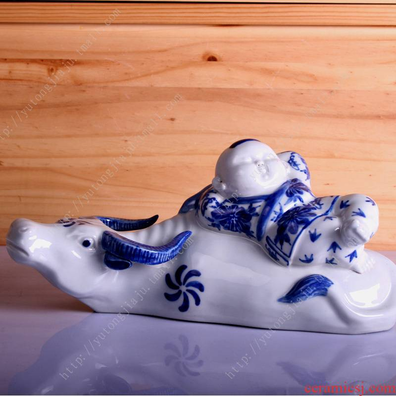 Rain tong home | manual blue and white porcelain of jingdezhen ceramics furnishing articles cattle cowboy creative decoration decoration arts and crafts