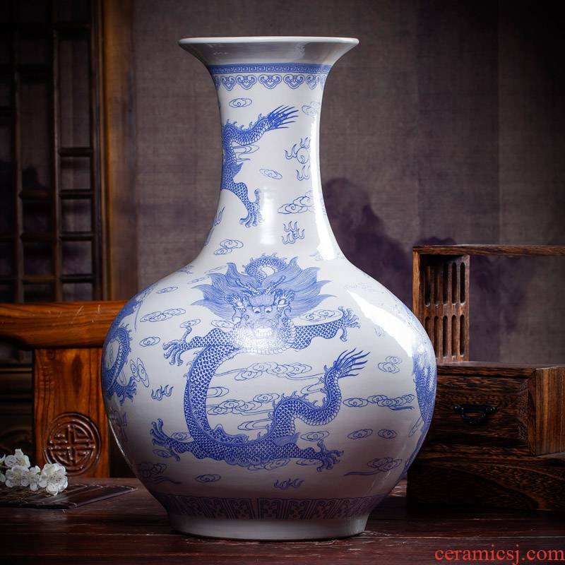 Antique imitation porcelain of jingdezhen ceramics dragon design domestic act the role ofing handicraft furnishing articles sitting room of Chinese style household gifts