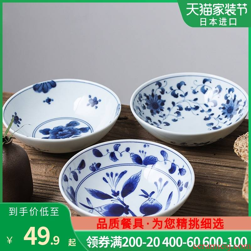 Fawn field'm Japanese imports of ceramic tableware blue winds don bowl noodles soup bowl bowl bowl of soup bowl Japanese and wind