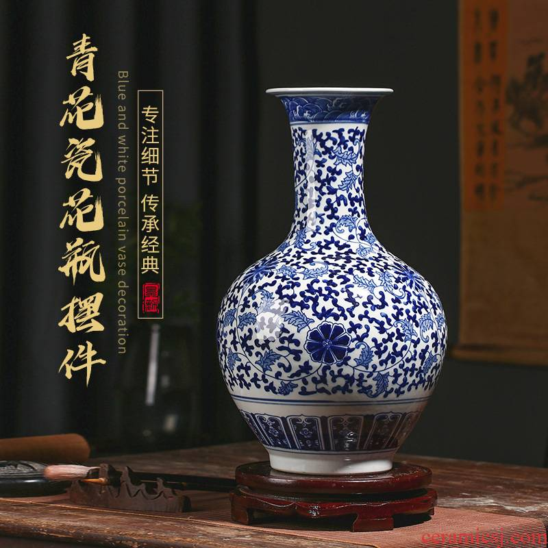 Jingdezhen blue and white porcelain vase hand - made ceramic sitting room antique Chinese style restoring ancient ways furnishing articles study of TV ark, vase