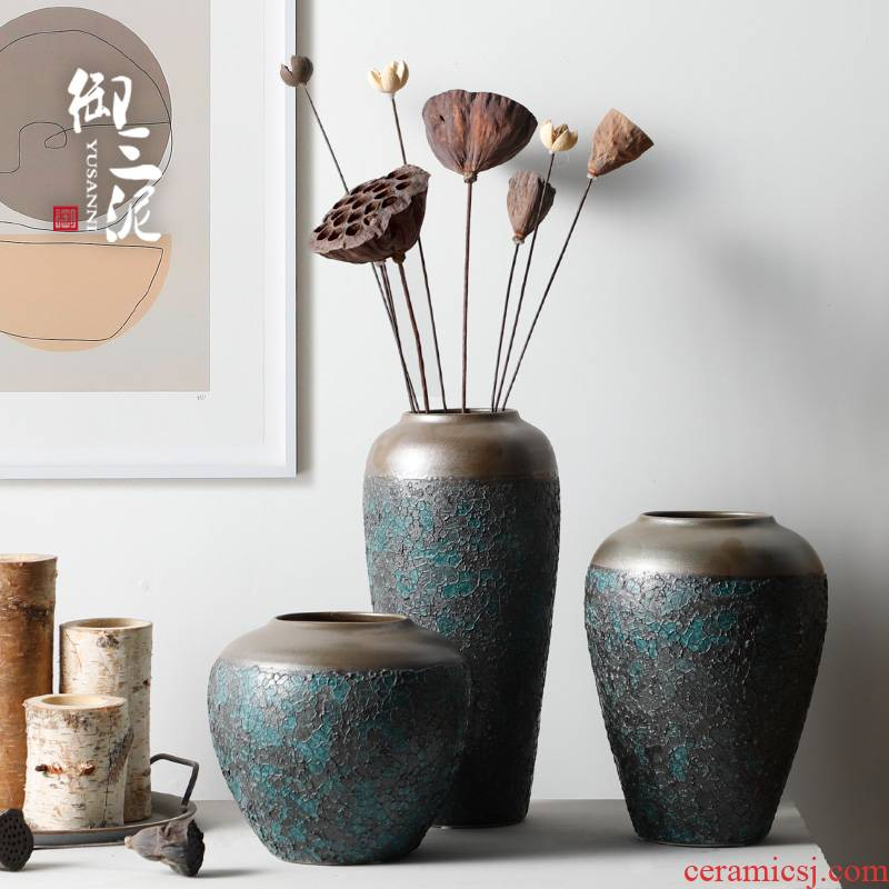 Restoring ancient ways is the American pastoral modern ceramic vase living room table flower arranging some ceramic pot dry flower adornment furnishing articles