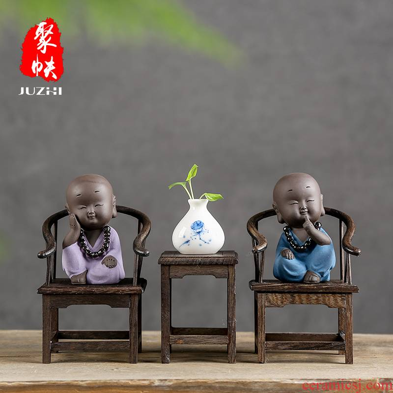 Shadow at zen tea pet furnishing articles boutique creative play purple sand monk tea to keep the little novice monk JT home decoration