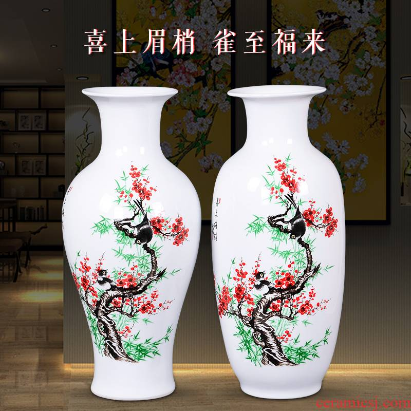Jingdezhen ceramics large vases, flower arranging is modern new Chinese style household living room TV ark adornment furnishing articles