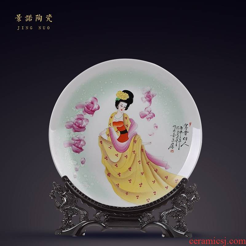 Jingdezhen ceramics hand - made hang dish of new Chinese style decoration plate sit plate process decoration gifts sitting room furnishing articles