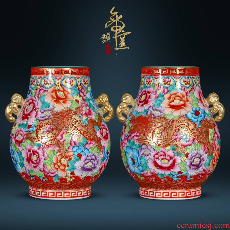 Jingdezhen ceramic vase imitation the qing qianlong dragon wear a flower is the barrel Chinese style living room TV cabinet porch is decorated furnishing articles