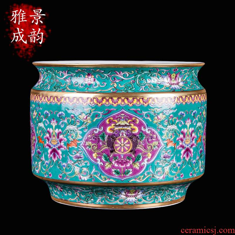 New Chinese style household jingdezhen ceramic famille rose porcelain vase decoration furnishing articles sitting room porch arts and crafts