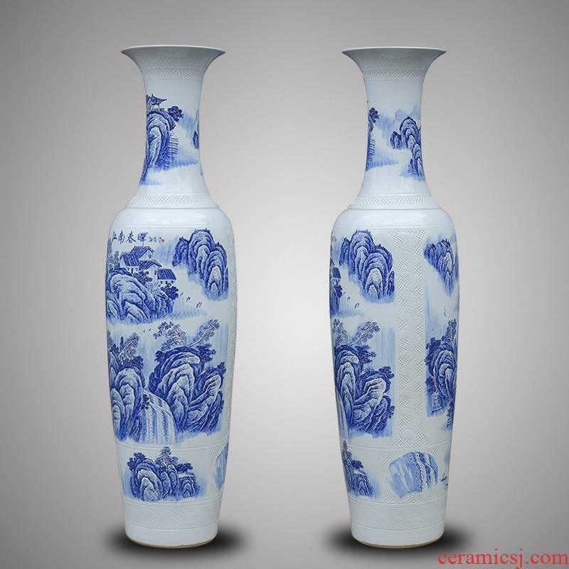 Jingdezhen blue and white landscape painting of large antique hand - made ceramics vase hotel villa housewarming large - sized 1 m 6