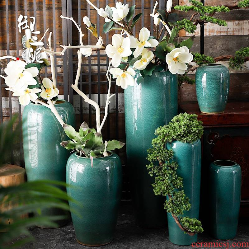 Ceramic vase landing, dried flowers, green large modern simulation flower arranging flowers sitting room hotel furnishing articles adornment ornament