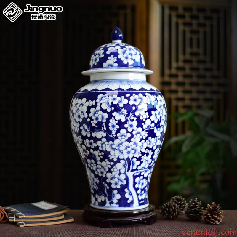Jingdezhen ceramics vase hand - made general antique blue and white porcelain jar storage tank household craft ornaments furnishing articles