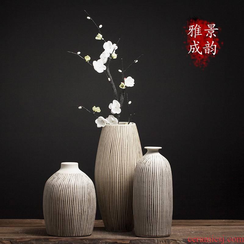 Jingdezhen ceramic three - piece porcelain ornaments furnishing articles Nordic sitting room porch flower arranging Chinese porcelain vase