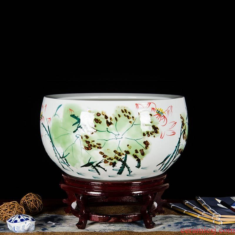 Famous hand - made Z044 jingdezhen ceramics basin goldfish turtle cylinder fish tank water lily bowl lotus lotus