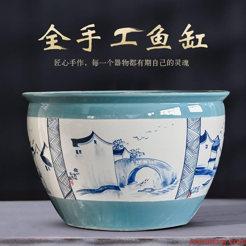 Jingdezhen ceramic 1 m sitting room aquarium goldfish bowl office furnishing articles to heavy tank yard is big fish bowl
