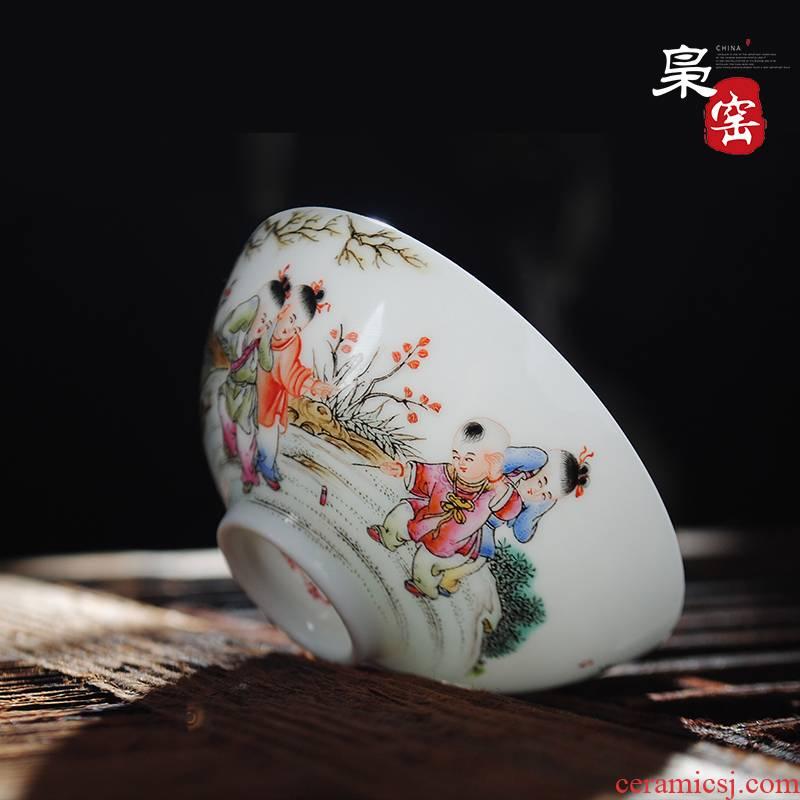 The Owl up jingdezhen tea kung fu teacups hand - made the lad famille rose bowl fine ceramic tea set