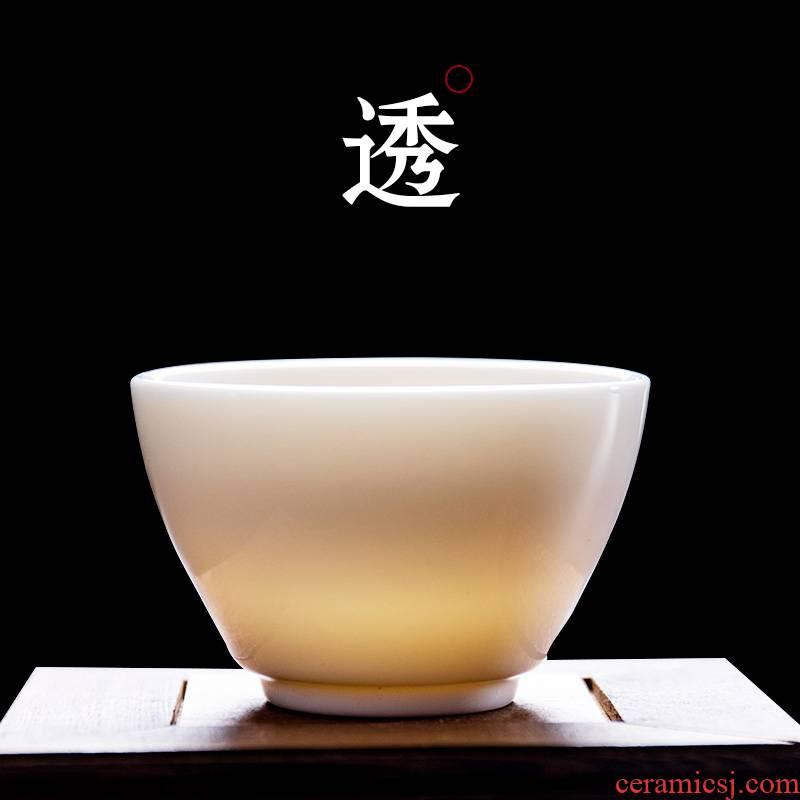 Jane jade quality dehua porcelain single CPU master cup tea suet jade kung fu a single white porcelain tea cups, ceramic cups