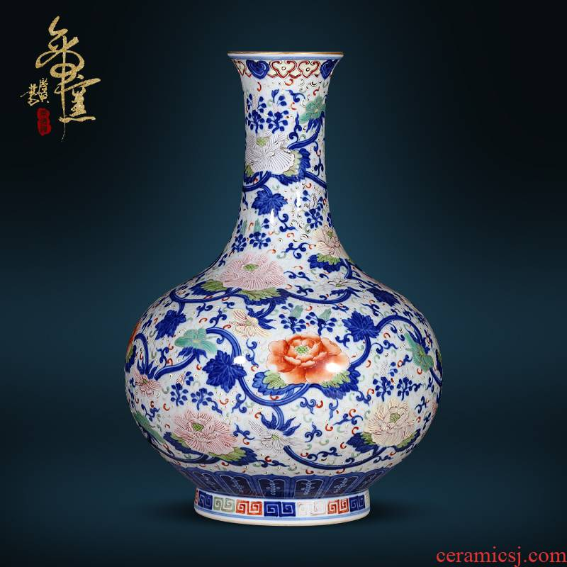 Jingdezhen ceramics the qing qianlong hand - made Chinese blue and white color bucket vase sitting room porch rich ancient frame antique furnishing articles