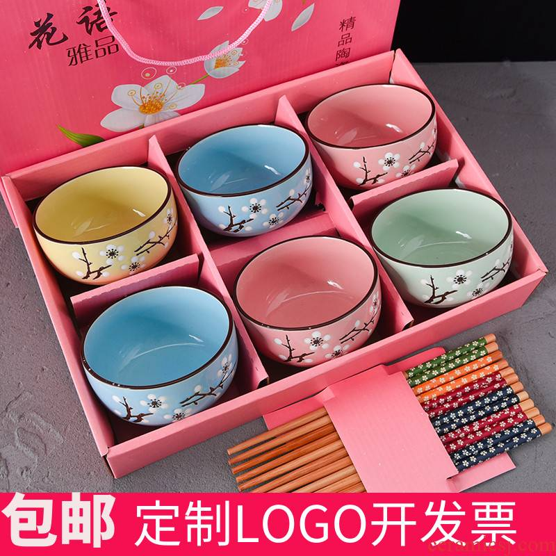 . Gift chopsticks sets of household ceramic bowl cutlery set bowl dishes dresses Gift boxes/blue and white porcelain bowls' ones