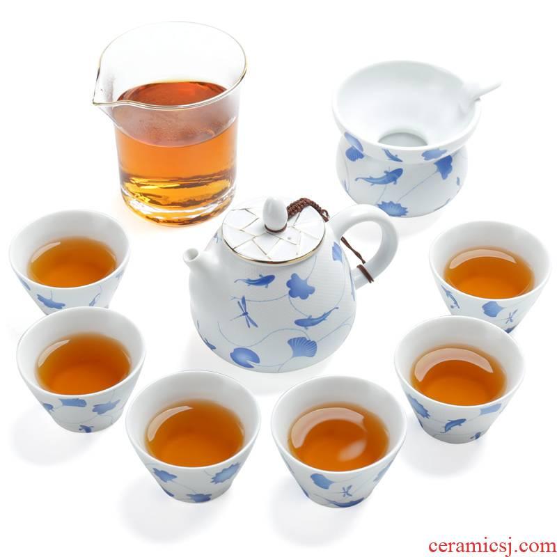 A complete set of kung fu tea set ceramic household tea tea set Japanese tea teapot teacup fair keller