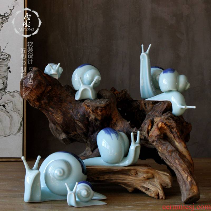 Rain tong home | jingdezhen ceramics creative manual shadow celadon furnishing articles q animal porcelain porcelain decoration in study