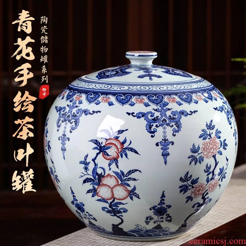 Jingdezhen ceramics hand - made antique POTS of blue and white porcelain tea pot tea cake seven large storage place