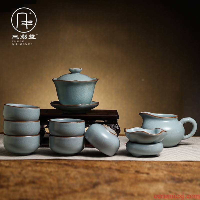 Three frequently your up glaze kung fu tea set # 10 head set of jingdezhen tea cups of a complete set of tureen TZS374
