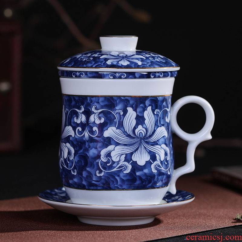 Jingdezhen ceramic tea cup filter with cover glass office home ins blue and white porcelain keller cup