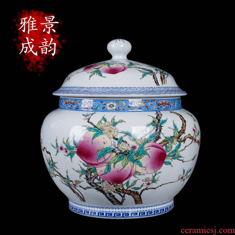 Jingdezhen ceramic antique peach storage can act the role ofing is tasted furnishing articles home sitting room storage tank porcelain tea cake