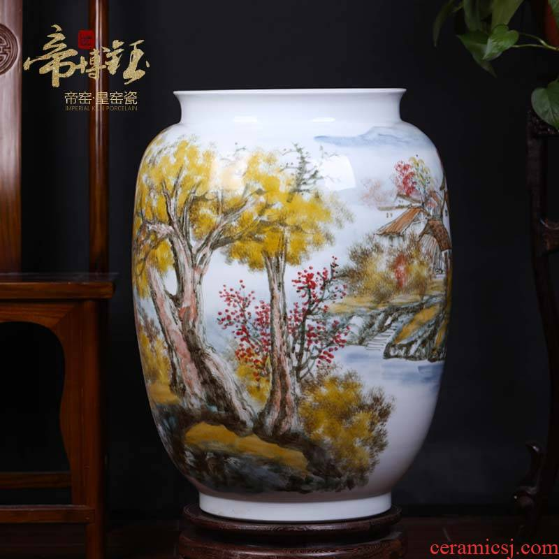 Jingdezhen ceramic masters works hand - made painting and calligraphy tube scroll cylinder office furnishing articles study of sitting room decorative vase