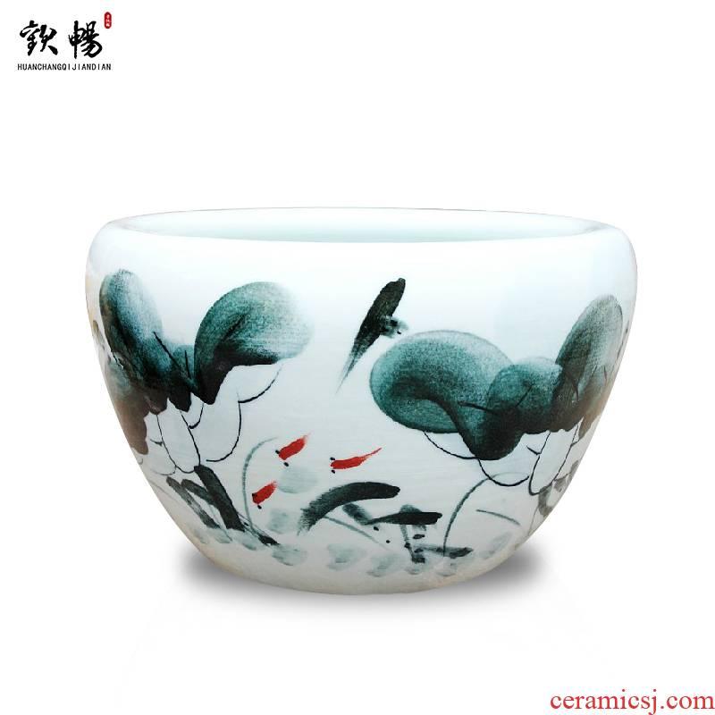 Jingdezhen ceramic aquarium large hand - made goldfish turtle cylinder water lily basin fish bowl lotus lotus extra large