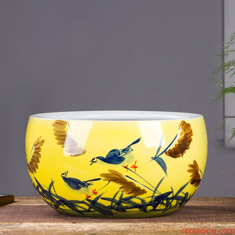 Jingdezhen ceramics tank large pastel shade green turtle cylinder lotus pond lily bowl lotus goldfish basin furnishing articles