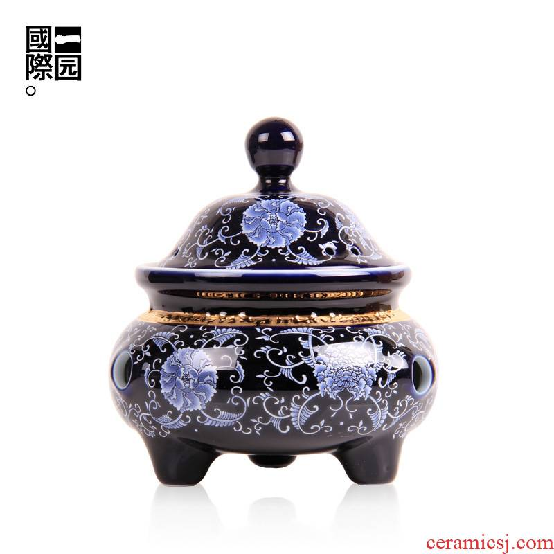 A very beautiful garden ceramic incense buner household aloes smoked censer indoor ta creative dish present tea taking