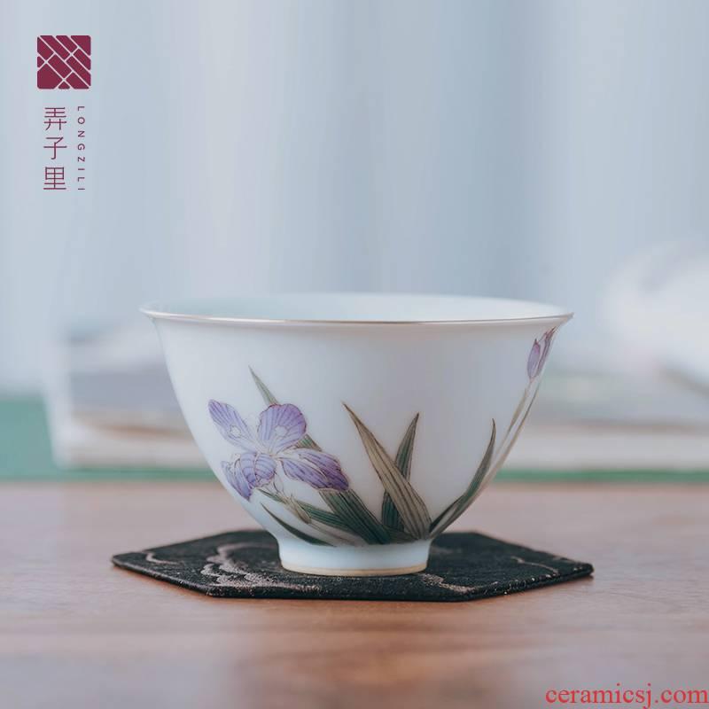 Made in jingdezhen ceramic cup home master cup antique hand - Made mud creative irises heart cup single CPU