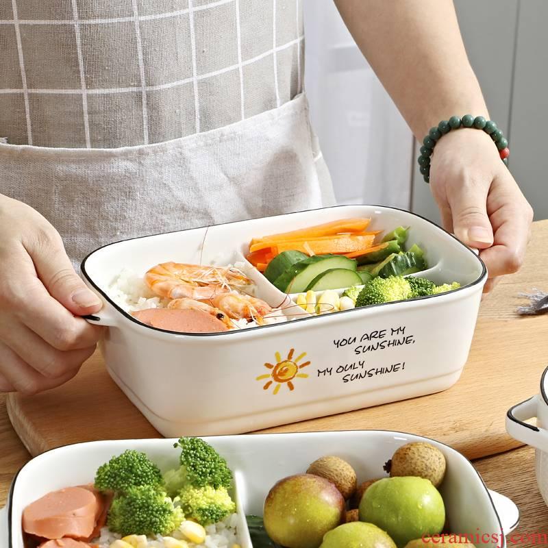 Bento fresh cartoon three - piece three lattice ceramic bowl with lunch box, lunch box microwave bag in the mail
