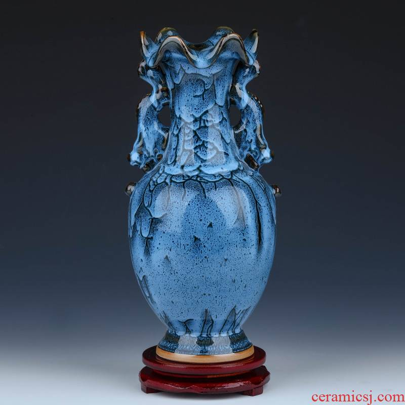 Archaize of jingdezhen ceramics up with jun porcelain vases, flower arranging furnishing articles sitting room of rich ancient frame of Chinese style household ornaments