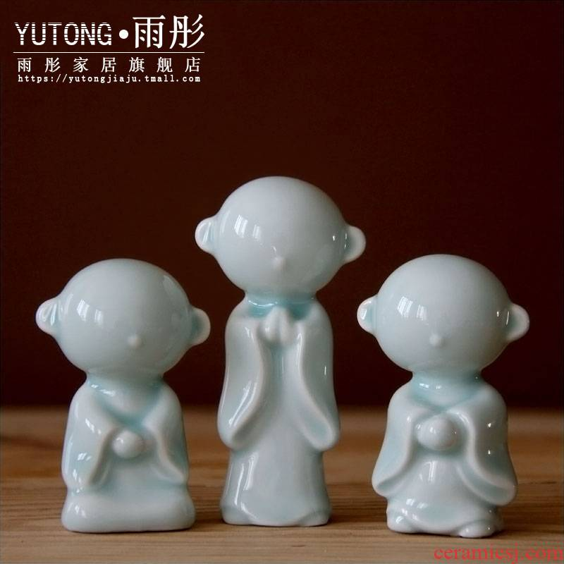 Rain tong home | lovely big ears the young monk three monks furnishing articles shadow celadon jingdezhen ceramics by hand