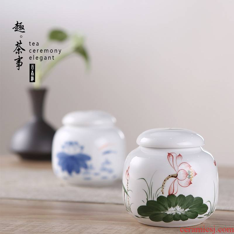 Hand - made ceramic small seal pot creative move fashion portable storage tank type fan caddy fixings with you travel