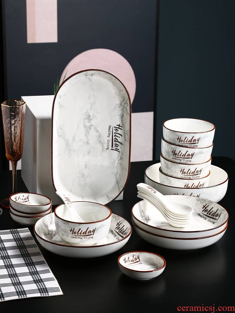 Northern wind ceramic dishes suit creative web celebrity ins eat bowl dish contracted household soup bowl chopsticks tableware move