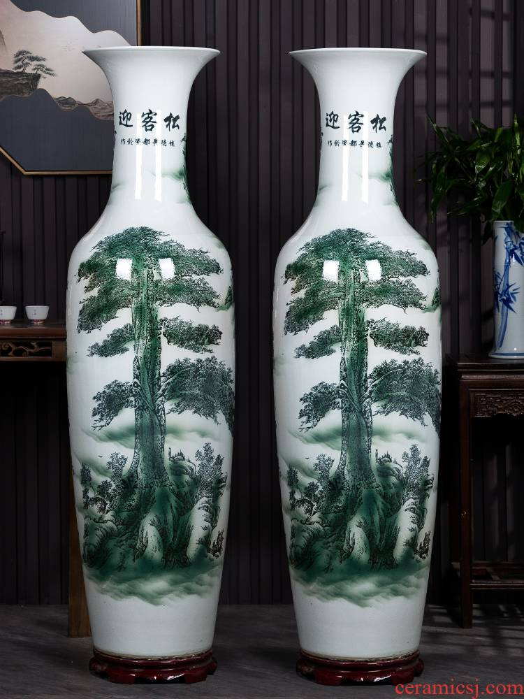Blue and white porcelain of jingdezhen ceramics guest - the greeting pine of large vases, new Chinese style sitting room place large hotel opening