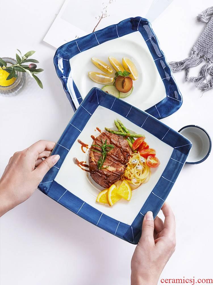 Three ceramic Japanese blue scene series food dish restaurants fry FanPan compote creative move square plate tableware household