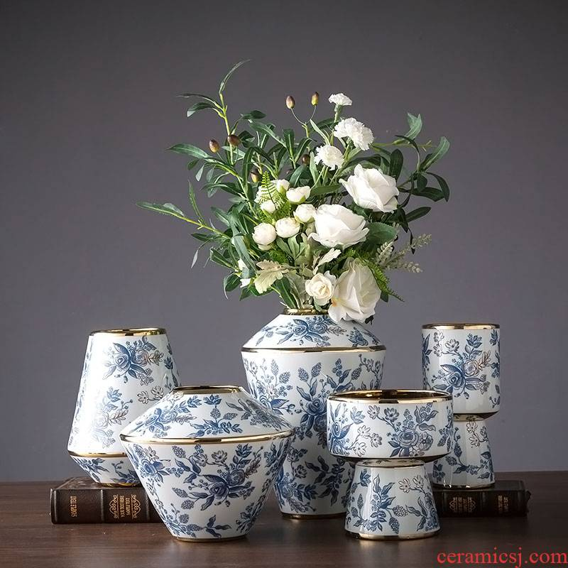 New Chinese style blue and white porcelain ceramic vases, flower art flower arranging high - grade sitting room of Chinese style dining - room art adornment is placed by hand