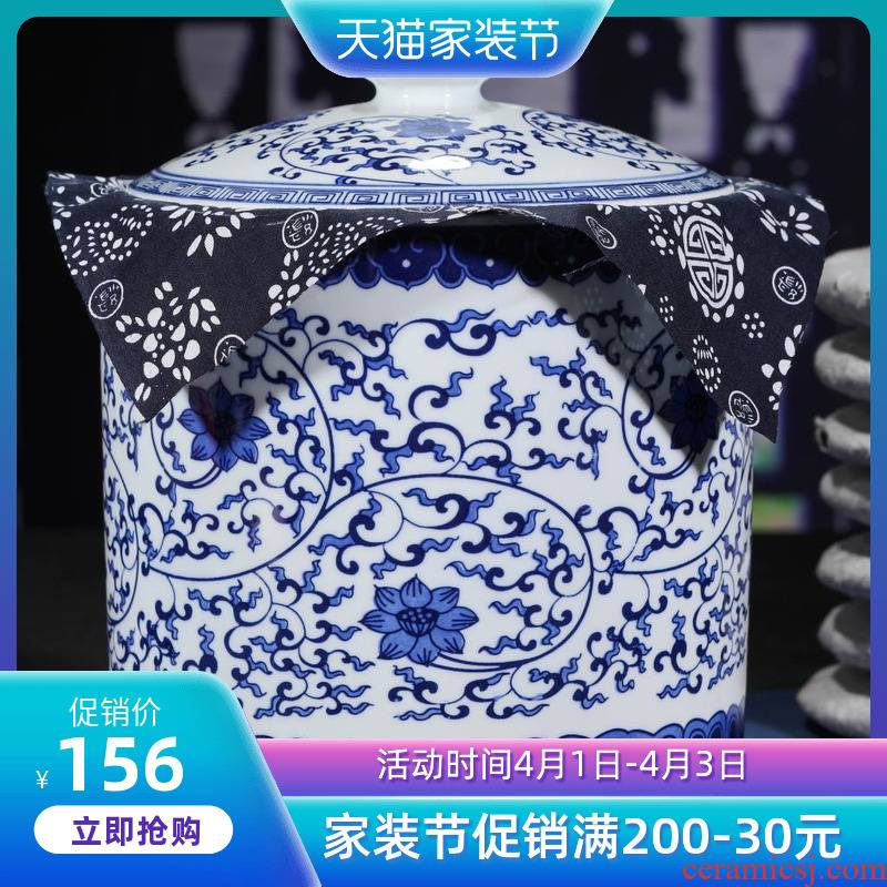 Blue and white porcelain of jingdezhen ceramics large manual caddy fixings storage seal tea cake tin POTS to restore ancient ways