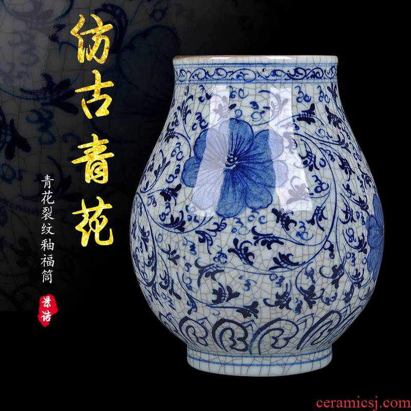 Jingdezhen ceramics hand - made guanyao blue and white porcelain flower rich ancient frame under the glaze color antique crafts home decorations