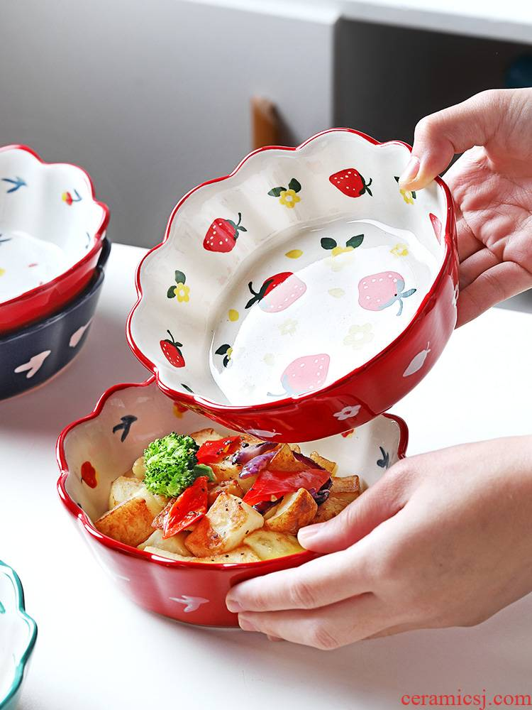Japanese ceramics baking bowl of individual creativity and lovely young girl heart move fruit salad bowls household web celebrity tableware