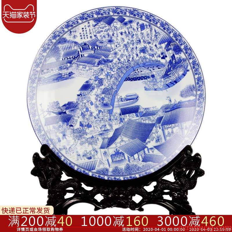St6 jingdezhen ceramics decoration plate hanging dish clarity of blue and white porcelain painting large adornment furnishing articles