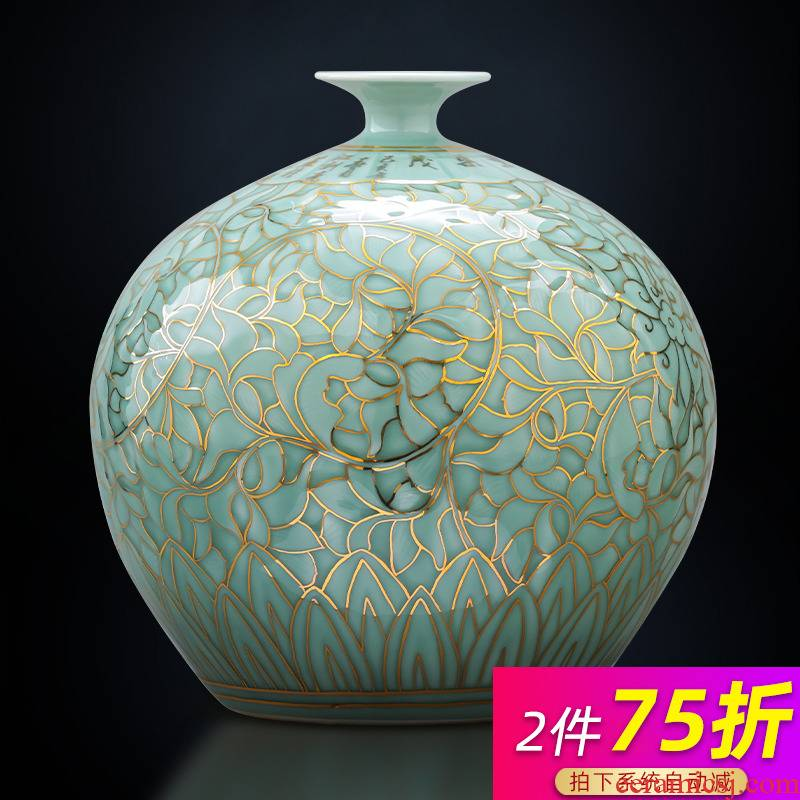 Jingdezhen ceramics green light glaze vase hand - made paint pomegranate bottles of Chinese key-2 luxury home sitting room adornment is placed