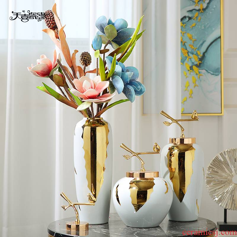 Modern light key-2 luxury home decoration ceramic vase furnishing articles sitting room of new Chinese style household dried flower arranging flowers, table decoration